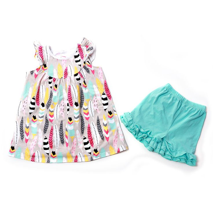 Summer Girls Feather Dress Shorts Set Toddler Boutique Clothing Hot Sale Summer Clothes Pink Children's Clothing Outfits Feather