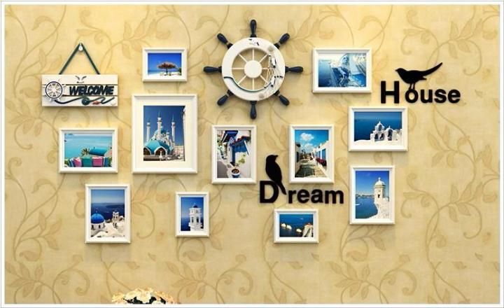 1 Set(13 pcs) Mediterranean Style Picture Photo Frame Wood Wall Mural Photos Frames Wall Sticker DIY Home Decor Removable