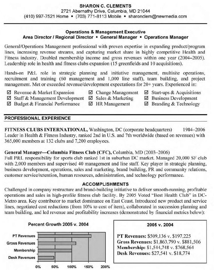 General Manager Resume examples, Operations management