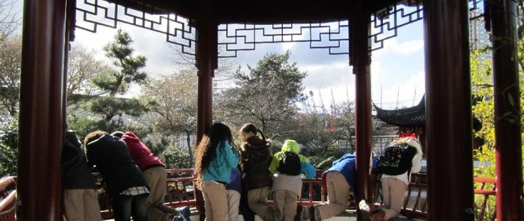 Students at the Dr. Sun Yat-Sen Classical Chinese Garden.