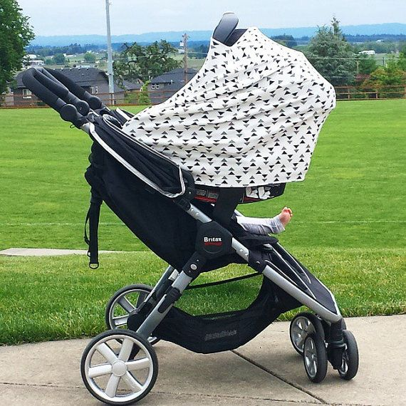 stretchy car seat cover canopy gender neutral black white triangle doubles as adorable. Black Bedroom Furniture Sets. Home Design Ideas