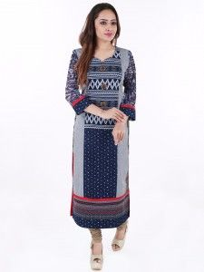 Shop G3 Exclusive cotton navy festive wear kurti online from G3fashion India. Brand - G3, Product code - G3-WKU2829, Price - 1395, Color - Navy, Fabric - Cotton,
