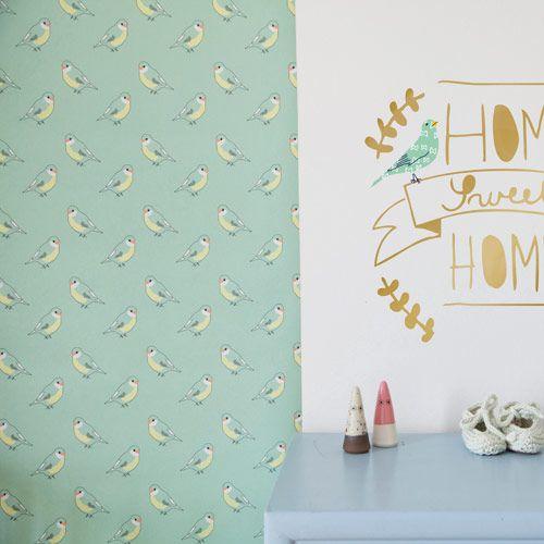 Papier peint chambre enfant vert menthe imprimé oiseau Mimi Lou