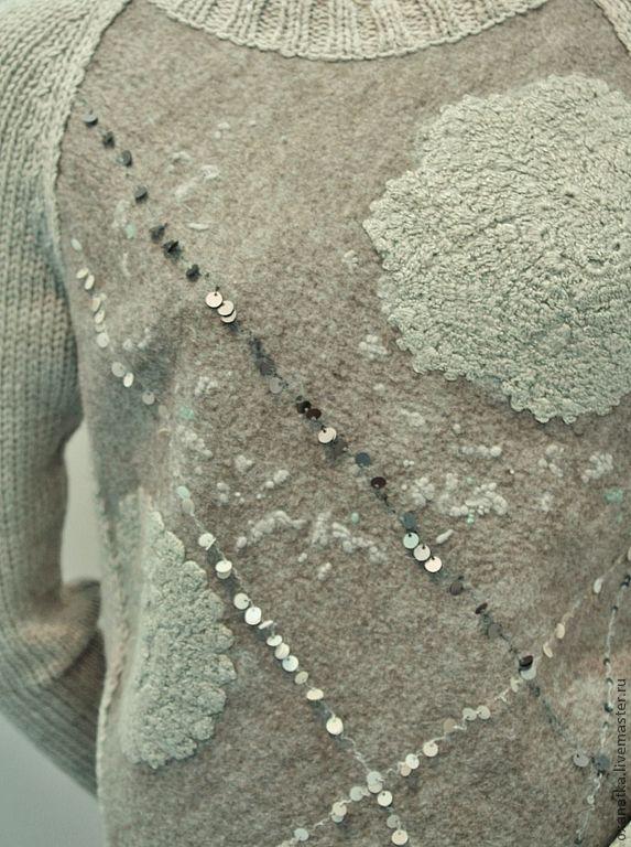 Купить Валяный свитер Grаy Lace - серый, авторская ручная работа, одежда из войлока