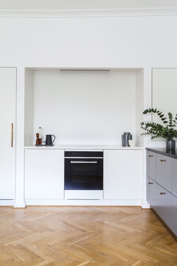 Built In Cookers Part - 42: White, Small And Simple Kitchen - The Small Niche Previously Housed Built-in  Cabinets