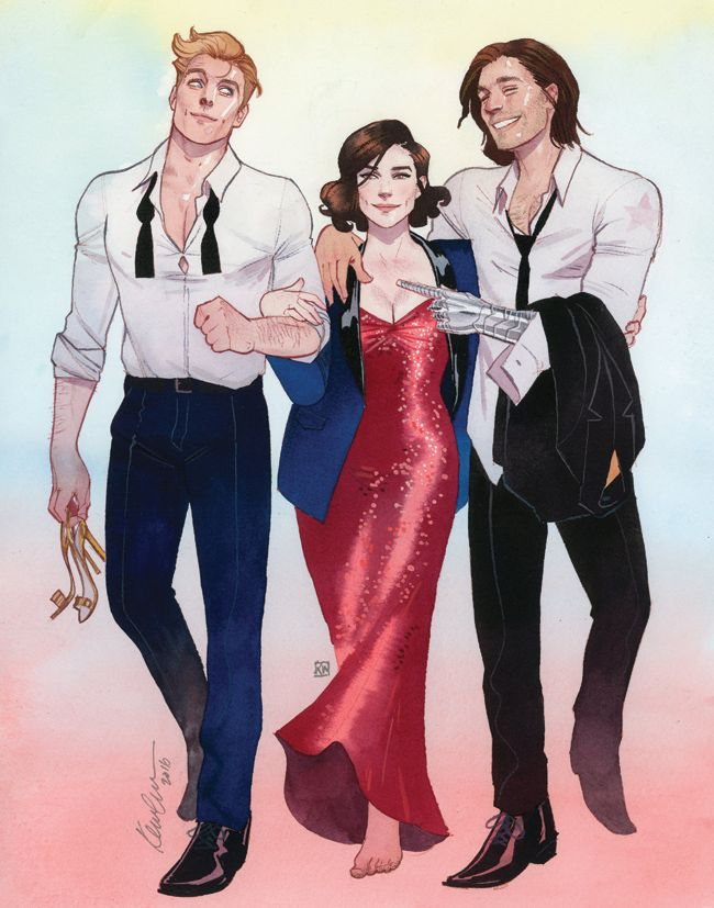 Steve Rogers, Peggy Carter, Bucky Barnes Fashionization HeroesCon 2016 commission