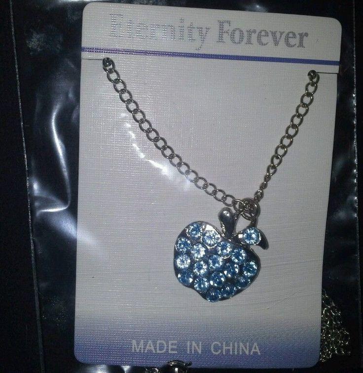 Blue Apple Rhinestone Pendant Necklace in Jewelry & Watches   eBay