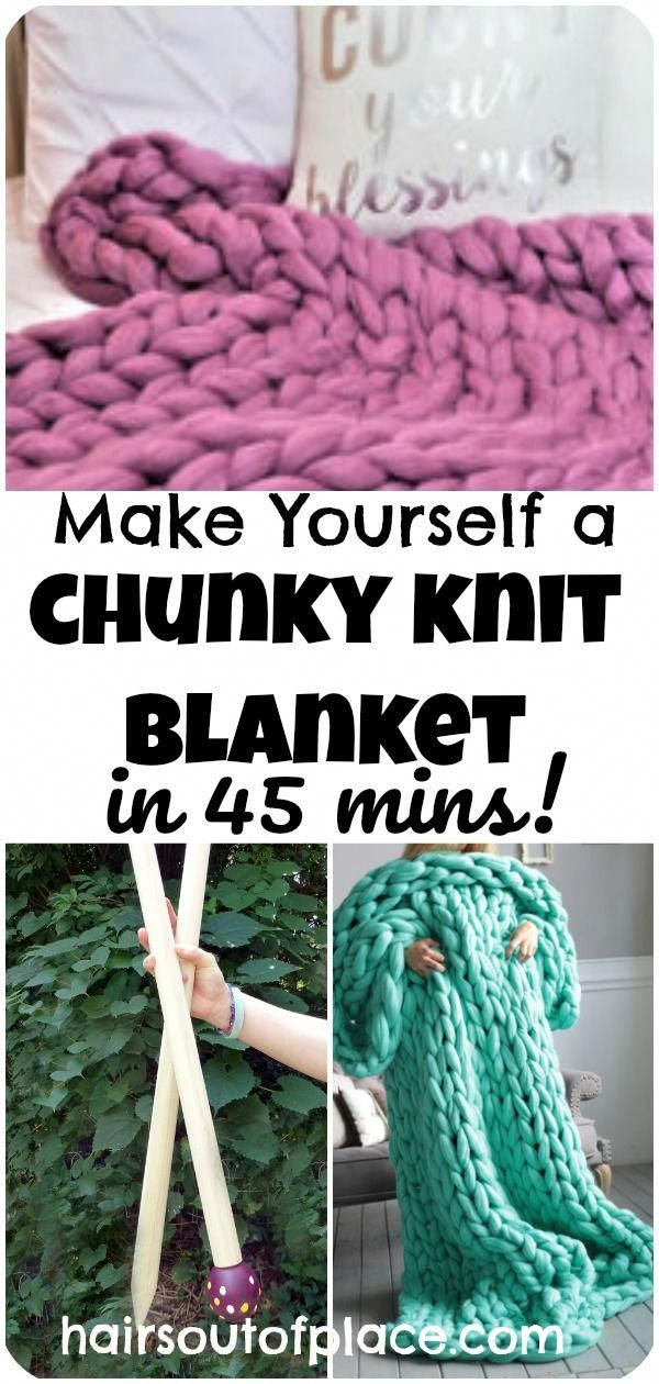 c6c5caabfaae How to make a chunky knit blanket in under one hour! You can make an easy  DIY chunky knit blanket as a beginning knitter. The post includes a chunky  ...