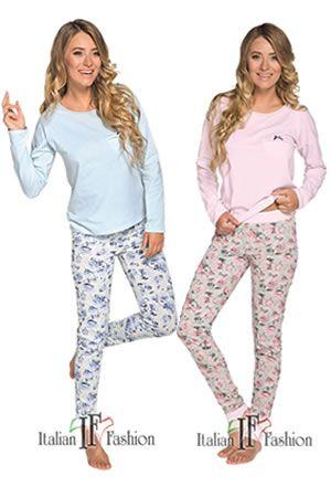 Piżama damska JOWITAproducent: Italian Fashionmateriał: bawełna 100%      Nowoczesny design oraz idealnie dobrana kolorystyka sprawią,że poczujesz się kobieco i modnie nawet w wieczornym, domowym zaciszu...    Piżama damska Jowita - 100% bawełna,dostępna również w kolorzebłękitnym   Spektakularna kwiatowa inspiracja!  Bluzka,  wykonana z fenomenalnie przyjemnej w dotyku bawełny dżersejowej, w 2 pastelowychkolorach:  błękit, róż,   półokrągły dekolt obszty lamówką z kontrastującą nic...