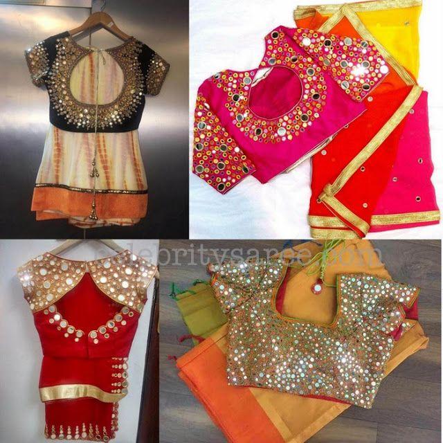 Mirror Work Blouses With Simple Saris Saree Blouse