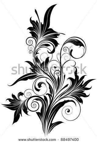 Ornamental flower.Detailed floral design ornaments, black colored.Each element easily regroup.