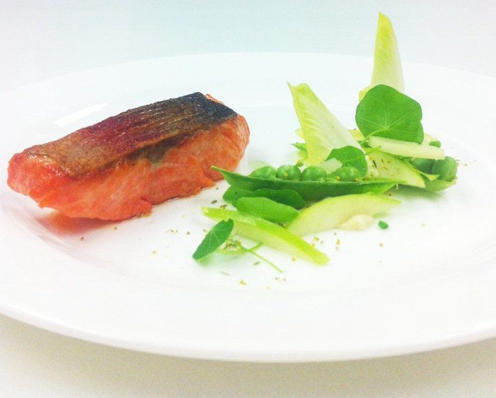 Pan fried trout with peas in the pod