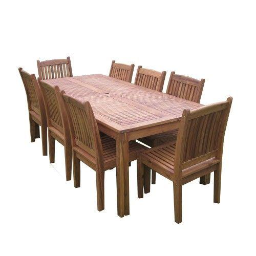 Hudsin 9pc Rectangular Dining Setting - Outdoor Timber Furniture