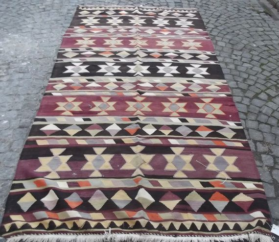 Art Kilim Wool Rug: VINTAGE Turkish Kilim Rug Decorative Purple Kilim By