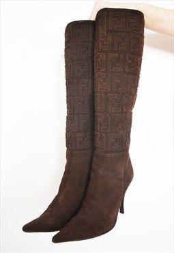 Designer Fendi Monogram knee length Boots Heels