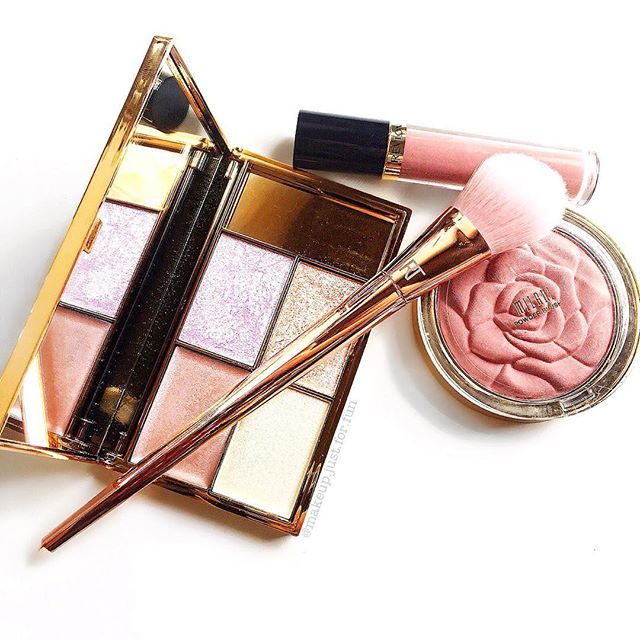 Sleek cosmetics highlighting palette, real techniques heavy metals brush, milani rose blush, revlon liquid lipstick