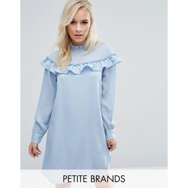 Vero Moda Petite High Neck Ruffle Smock Dress (625 MXN) ❤ liked on Polyvore featuring dresses, blue, petite, frilly dresses, long sleeve dress, flutter-sleeve dress, high neck dress and blue long sleeve dress