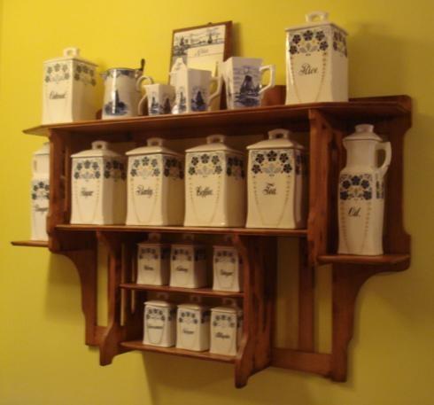 ANTIQUE CANISTER SET U0026 RACK, German Spice Set W/Maple Wall Rack,