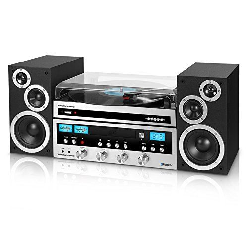 Innovative Technology ITCDS6000 Classic Retro Bluetooth Stereo System with Turntable Black and Silver *** Read more  at the image link. (Note:Amazon affiliate link)
