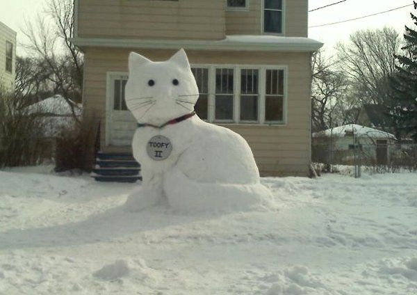 Cat Snow Sculpture