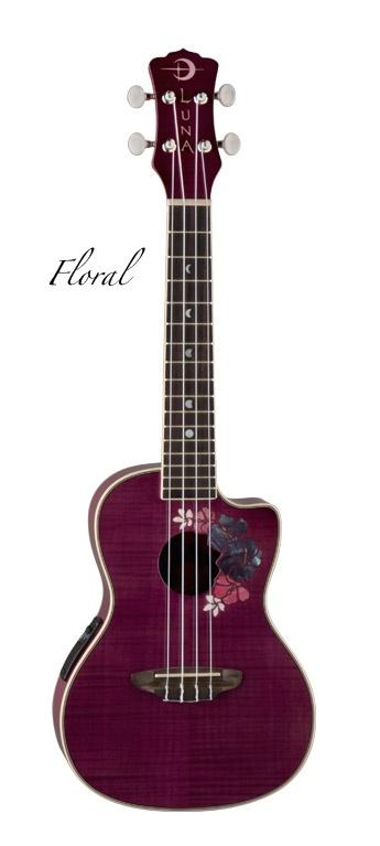 Luna Floral acoustic-electric ukulele