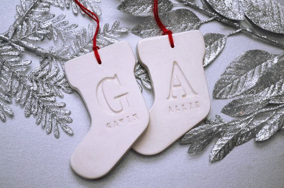 Set of 2 Customized Christmas Stocking Ornaments with Names, Gift boxed and Ready To Give