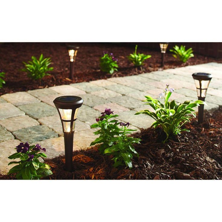 Hampton Bay Outdoor Solar Powered Landscape LED Mediterranean Bronze Clear Glass Lens Stake Path Light (6-Pack)-29130 - The Home Depot