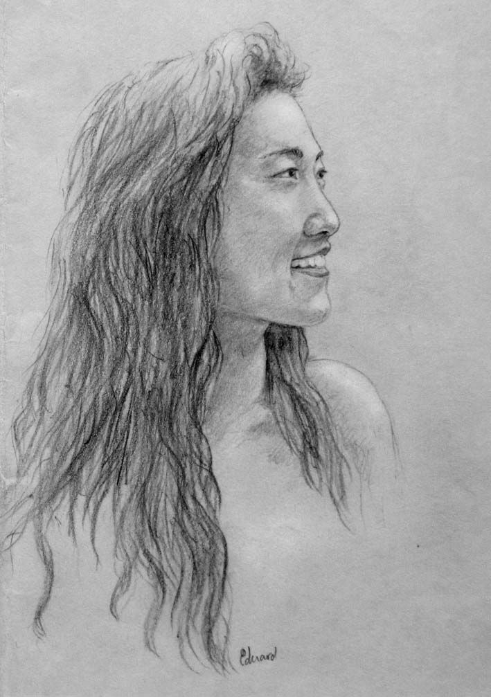Portrait sketch drawing, Dutch artist Eduard Moes
