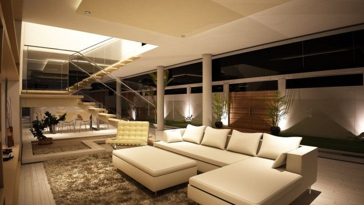 Living Room, Greenish Shag Rug Neutral Cream White Livining Room Open Staircase Stairs White Beige Sectional Sofa Cushions Coffee Table Potted Plants Ceiling Lamps Wooden Floor And Downstairs ~ Luxury Modern Living Room In Amazing House