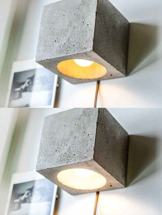 Dimming concrete wall lamp with simple functional design. This cube has two options: switch is located aside, or with wire.  Formed of light concrete, polished and smoothed by hands using durable safe materials for best resistance. Not heavy, so you can simply hold it on the wall. Beautiful design thing for fine style appreciators!  Cube - 12cm*12cm*12cm (4,8*4,8*4,8 inch) Standard ceramic lamp-socket E27 (light bulb is not provided). 2 options of wiring: with cord (length - 175cm with a…