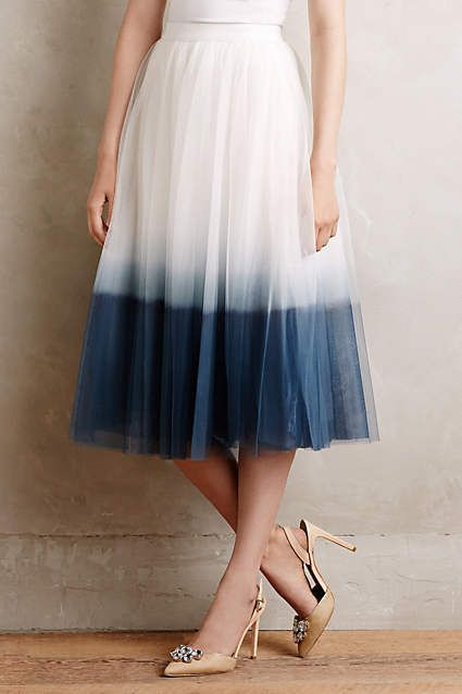 Anthropologie EU Sweet Pea Tulle Skirt. The difficulty of finding comfy silhouettes that fit and flatter drove Bailey 44 designers to custom tailor and personally try on each and every style they create. Here, the classic tulle skirt gets a modern update with a beautifully dip dyed hem. A perfect piece for summer fetes and celebrations.
