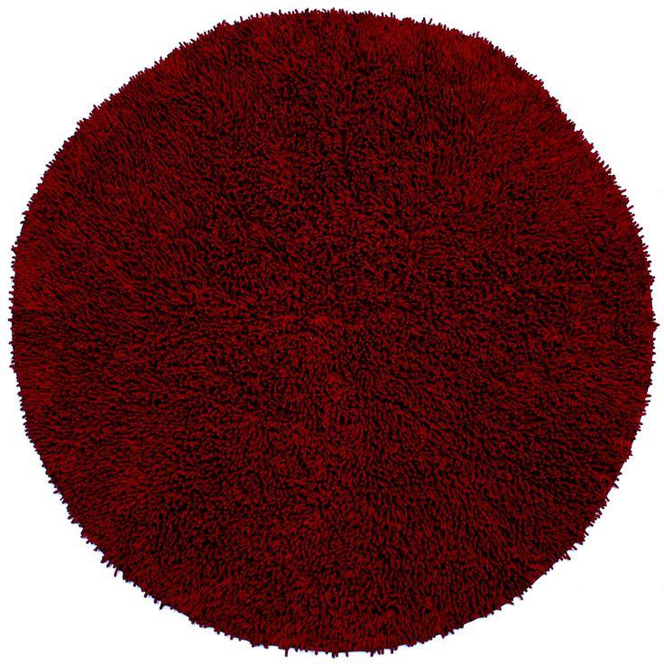 (Red) Shagadelic Twist Round Shag Rug ( Shagadelic Twist (2'x2') Round)