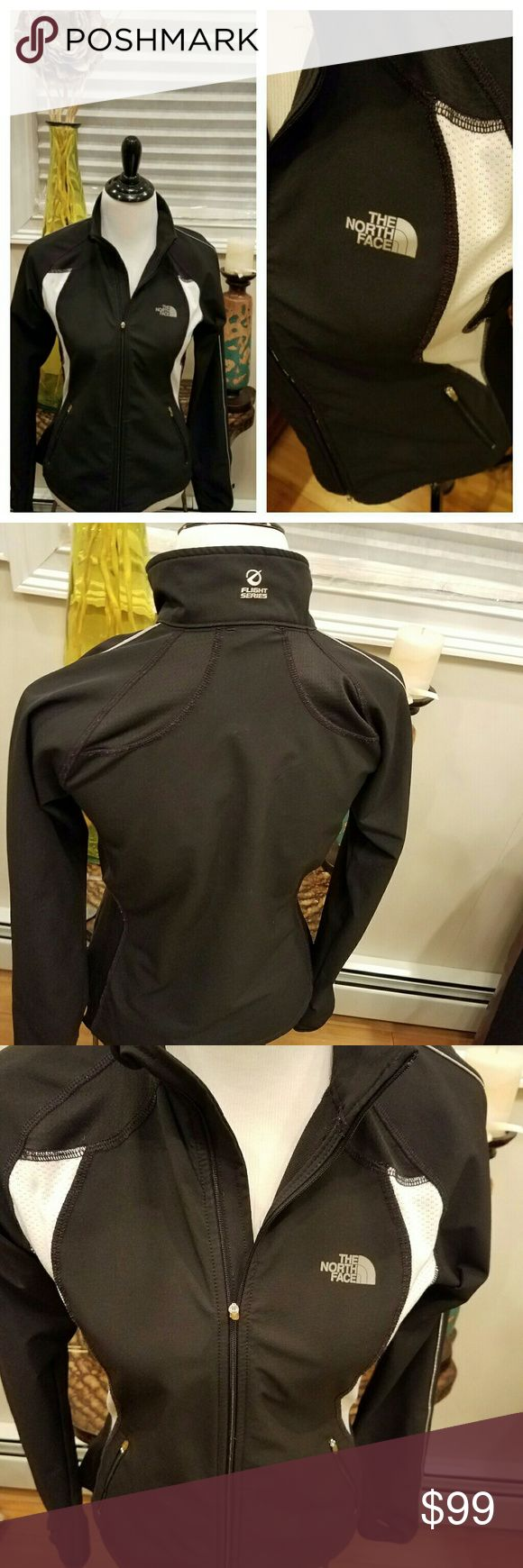 North Face Flight Series Zip-up Jacket. Womans' North Face Flight Series Jacket. *Lightweight but protective  *Silouette flattering figure jacket *Two-toned:black and white; goes with anything! *Opening for thumb for sport-like feeling *Size Medium (In my opinion, this is a smaller fit than most north face fleece jackets...it is more form fitting) *Offers Accepted! Tops