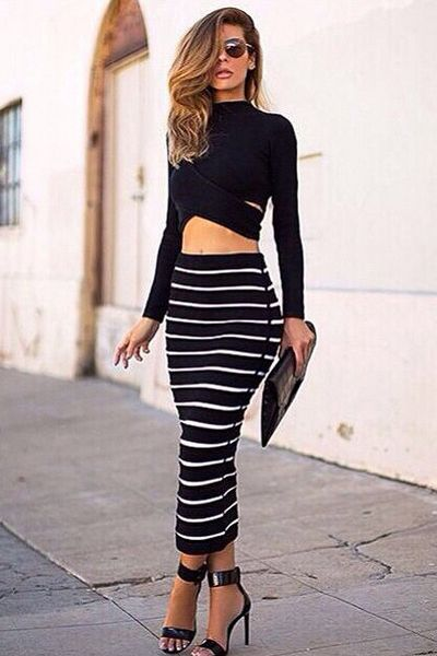 Turtleneck Long Sleeves Striped Black Polyester Two-piece Ankle Length Dress