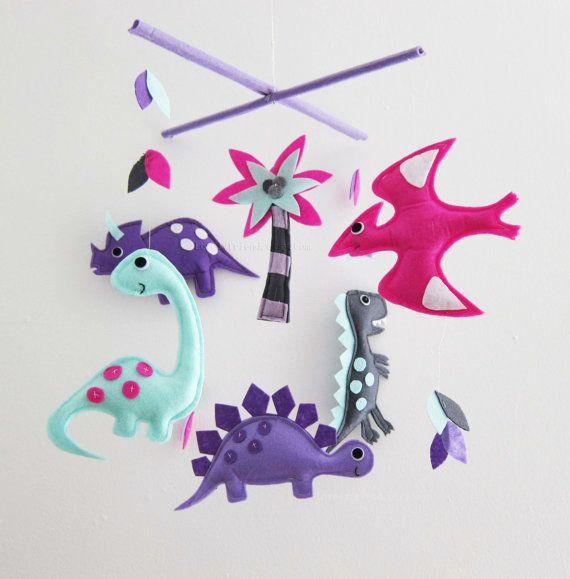 dinosaur Baby crib Mobile dinosaur theme mobile by lovelyfriend, $78.00 #FeltMobile
