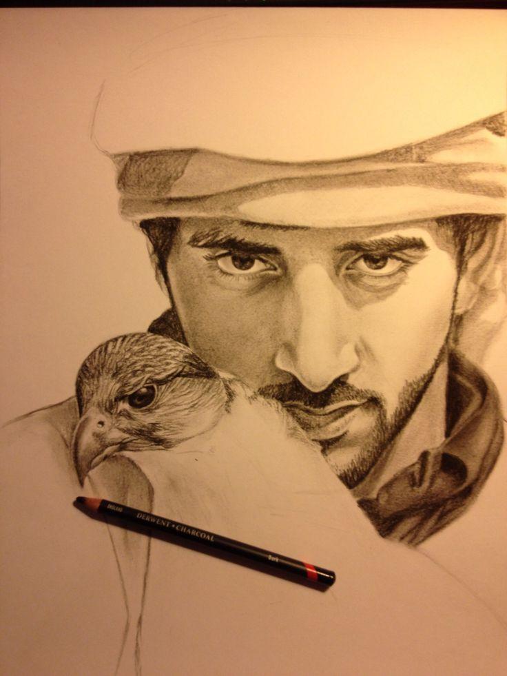 HH Sheikh Hamdan bin Mohammed bin Rashid al Maktoum ,art,charcoal