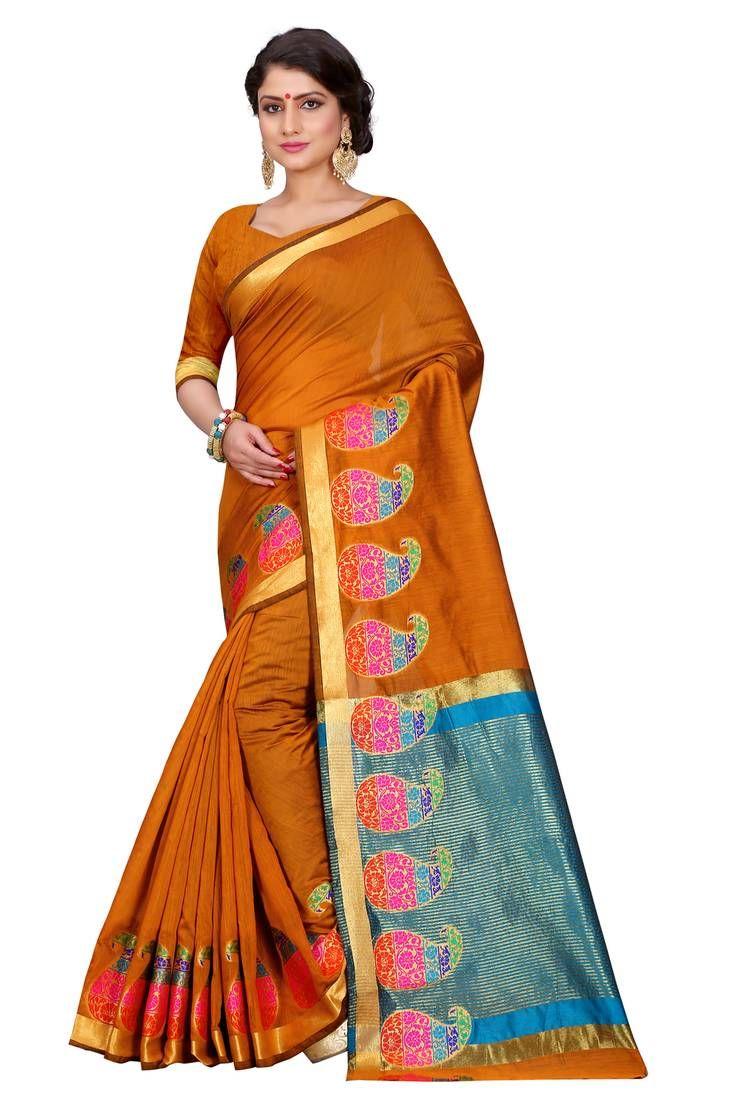 4a0da6bb0fe109 Mustard Color Woven Banarasi Saree With Blouse And Designer Pallu