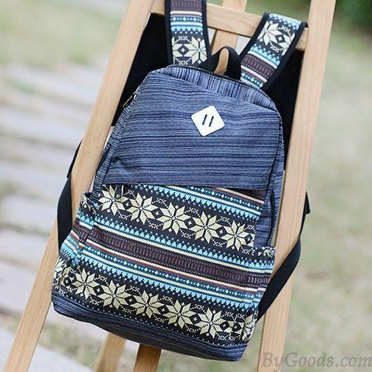 Folk Pattern Print Computer Bag Striped Backpack only $31.99 in ByGoods.com!