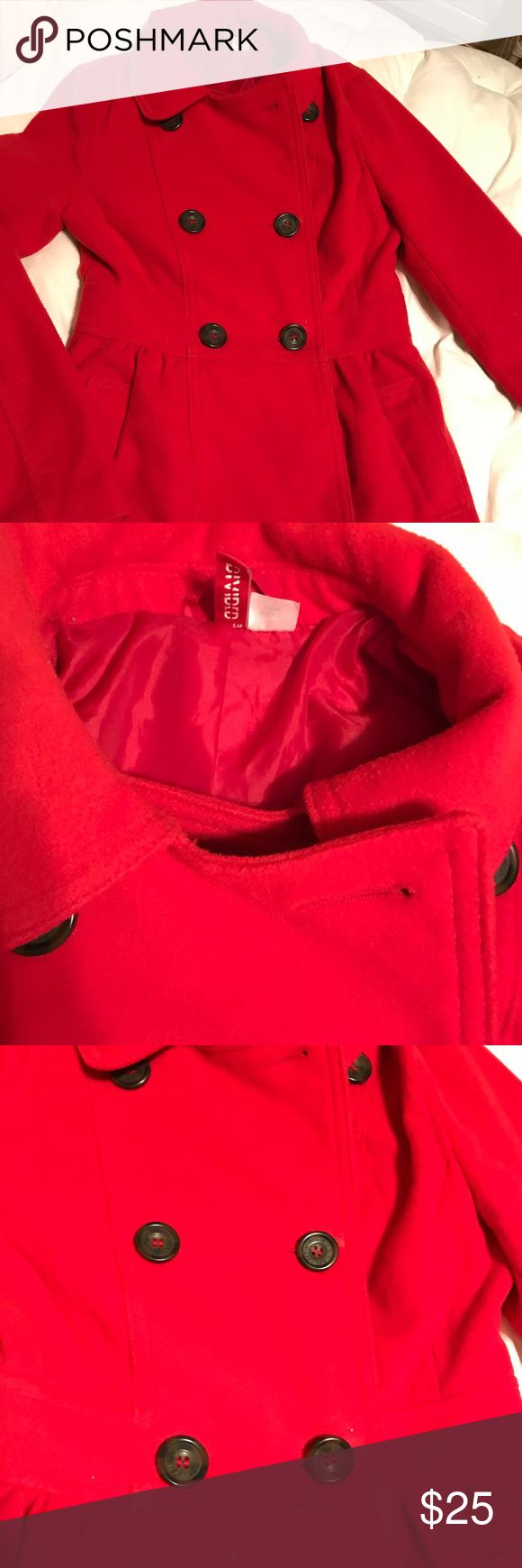 Red pea coat h&m juniors divided size 4 jacket Beautiful jacket by h&m divided. Size 4. Fully lined. Gathered at the waist for a figure flattering look. Gently worn. H&M Jackets & Coats Pea Coats