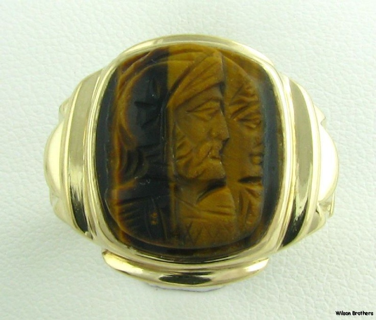 Vintage Carved Cameo Genuine Tigers Eye Mens Fine Ring