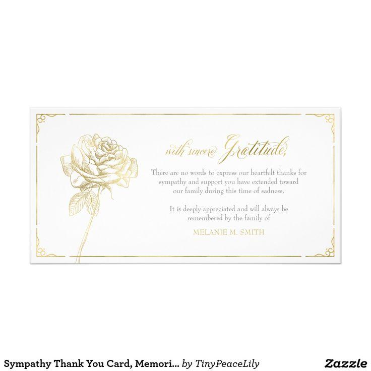 Sympathy Thank You Card, Memorial, Rose Gold Card