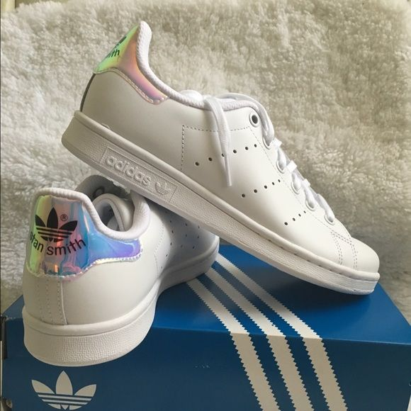 pick up c28d9 b2dba Adidas Stan Smith Iridescent Holographic Heels NEW Adidas Stan Smith in  metallic silver. The heels are iridescent therefore it has a h…