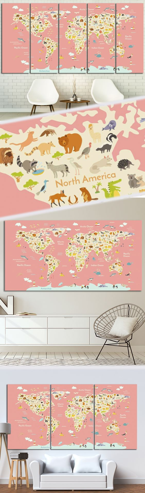 Nursery World Map Canvas Art