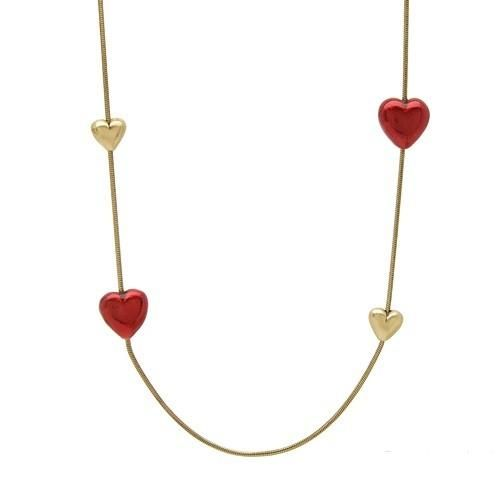 Ladies Necklace   With Genuine Crystal  Superb heart shape necklace made of yellow base metal and red enamel. Total item weight 48.20g.