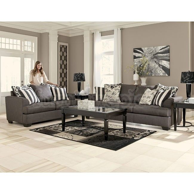 Levon Charcoal Living Room Set - Ashley Furniture. Pretty , but I would use a pop of color to make it WOW!