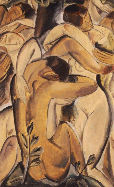 Γουναρόπουλος Γεώργιος (1890 - 1977)  Γυμνά ειδύλλια που φιλιούνται, 1924