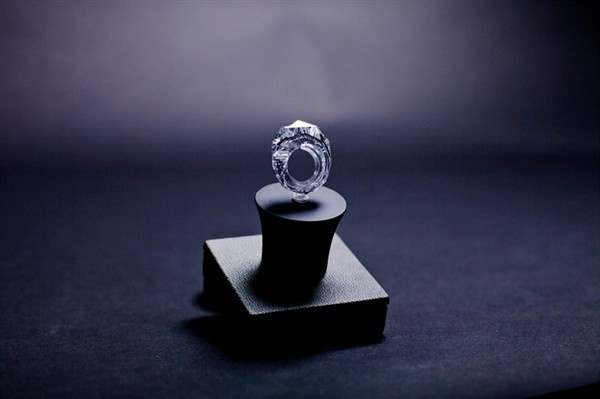 and it's worth 70million USD, world's first all-diamond ring, 150 carat