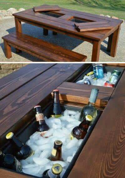 diy outdoor table with builtin cooler cold beverages always end up in a cooler on the other side of the patio i like this idea always has such neat
