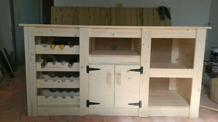 TV Unit with 3 Shelves / 2 Doors / 16 Bottle Wine rack. (Made by: Shane Ikin)