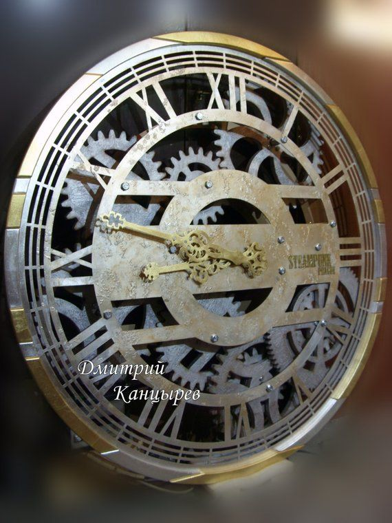 Large Huge Wall Clock With Rotating Gears Steampunk Metal Etsy Huge Wall Clock Wall Clock Clock